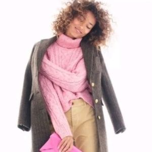 J. Crew Pink Chunky Cable Knit Turtleneck Sweater